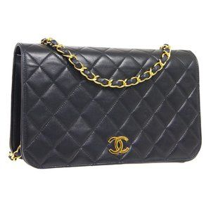 CHANEL Full Flap Quilted CC Chain Shoulder Bag 485